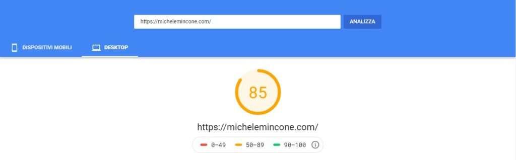 risultati wordpress google page speed insights desktop