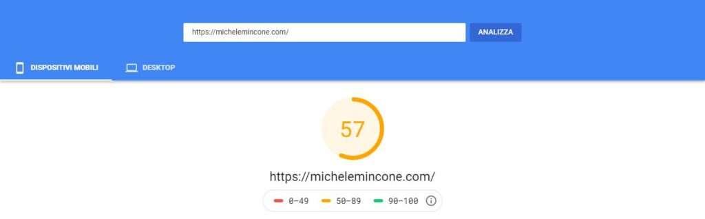 risultati wordpress google page speed insights mobile