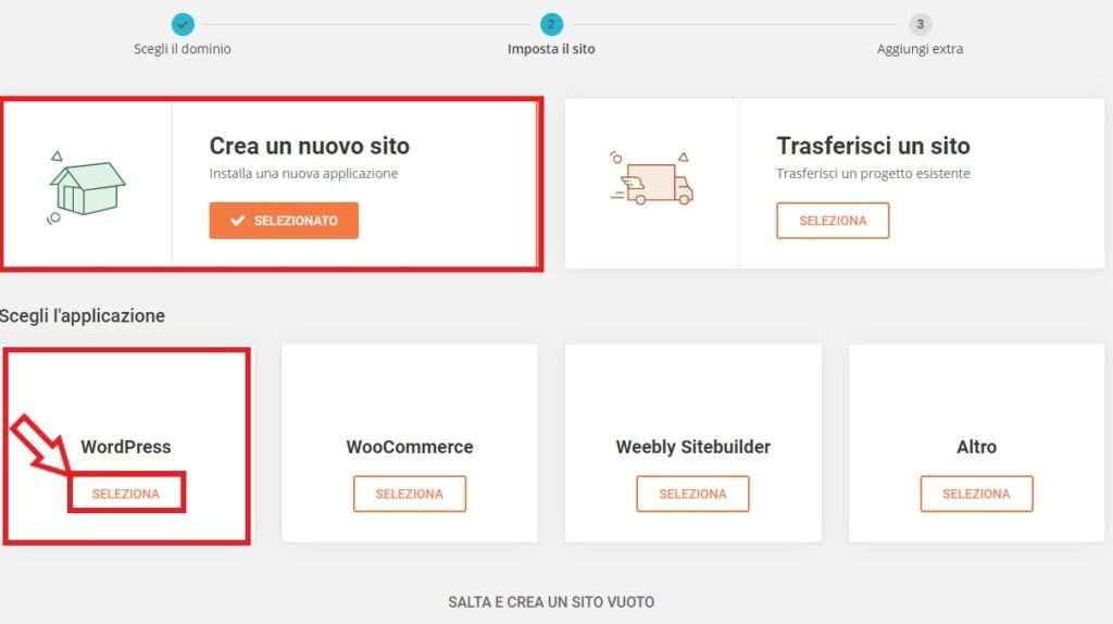 selezionare wordpress siteground