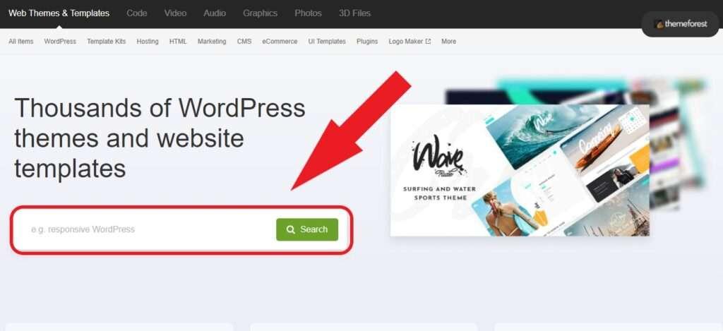 cercare temi su themeforest per wordpress