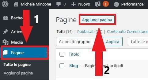 aggiungere pagina wordpress per elementor