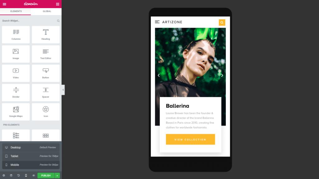 elementor page builder responsive