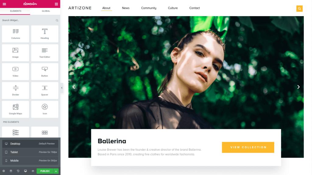 elementor page builder desktop