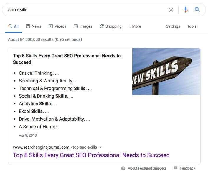 lista puntata snippet google seo tecnica