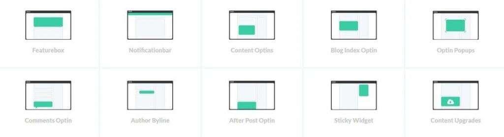 catturare le email con growtheme e tutti i widget disponibli
